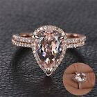 Rose Gold Rings Set Proposal Gift Clear Diamond Engagement Jewelry Band Ring