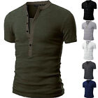 Fashion Men's Slim Fit V Neck T-shirt Muscle Tee Casual Tops Short Sleeve Blouse image