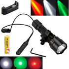 Red/Green/White XM-L T6/Q5 LED Flashlight Camping Torch Gun Mount  Switch 18650