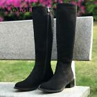 New Fashion Black Color Plus Big Size Knee Length High Boots For Women