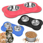 PAWABOO Set of 2 Stainless Steel Pet Dog Cat Food Water Feeder Bowl Rubber Base
