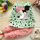 Toddler Kid Baby Girl Minnie Mouse Outfits Clothes 2Pcs Set T-shirt Top+Pants US
