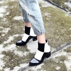 Cool Womens White Black Plaids Checks Hot Sexy Block Heels Ankle Boots All US Sz