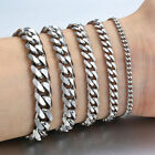 "3/5/7/9/11mm Men Stainless Steel Cuban Link Bracelet Chain Silver Gold 8""-10"""