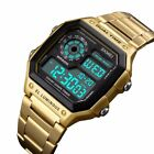 Mens Luxury Stainless Steel Dual Time Alarm Square Dial Digital Waterproof Watch image