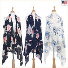 New Women Fashion Floral Printed Chiffon Open Front Sleeveless Vest - 30026