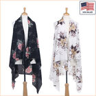 New Women Fashion Floral Printed Chiffon Open Front Sleeveless Vest - 30038