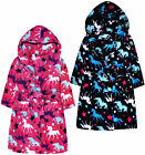Girls Unicorn Dressing Gown New Fleece Hooded Robe Pink Black Ages 7 - 13 Years