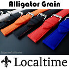Gator Texture Rubber Silicone Watch Strap 18-24mm 5 Rubber 8 Stitch Combinations