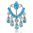 14g LongBeauty Navel Belly Button Rings Bar Crystal Flower Dangle Body Piercing