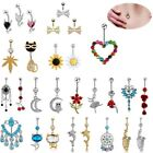 14g LongBeauty Navel Belly Button Rings Bar Crystal Flower Dangle Body Piercing image