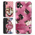 PERSONALISED BLUSH PINK FLORAL MARBLE CUSTOM NAME HARD PHONE CASE FOR IPHONE XS