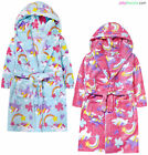 Girls Unicorn Dressing Gown Soft Fleece Hooded Pastel Robe Ages 2 3 4 5 6 Years