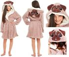 PUG Dog Dressing Gown Girls Fleece Childrens Hooded Snuggle Shaggy Novelty Robe