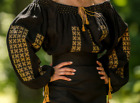 Women Ladies Handmade Traditional Embroidery Romanian Black Blouse Long Top IE