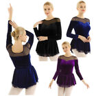 Внешний вид - Women Long Sleeve Velvet Ballet Dance Costume Mesh Skirt Figure Skating Dress