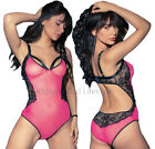 Crotchless Rosy Seductive Strappy Mesh, Lace Teddy Show Feminine Sexiness