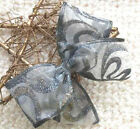 "5"" 10"" SHEER WIRED CHRISTMAS RIBBON BOW SILVER GREY GLITTER SPARKLE  TREE WREATH"