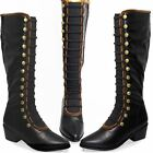 GLC687 Elba Faux Leather Velvet Side Zip Button Elasticated Long Military Boots