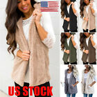 US Womens Sleeveless Fleece Fur Jacket Outerwear Tops Hooded