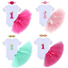 Baby Girl First Birthday Outfit One Year Party Princess Tutu Skirt Romper 3PCS