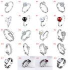 Wholesale 925 Sterling Silver Plated Women Fashion Crystal Adjustable Rings Open