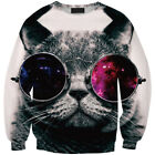 Women Sweatshirt Glasses Cat 3D Graphic Full Printed Casual Sweatshirts Hoodies