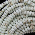 """Faceted White Turquoise Rondelle Beads 15.5"""" Strand 2x4mm 4x6mm 5x8mm 6x10mm"""