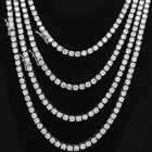 Iced Out 1 Row Simulated Diamond Real Stainless Steel Tennis Chain Necklace