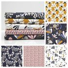 Magique Floral 100% Cotton Fabric Dressmaking Per Metre Mustard Navy