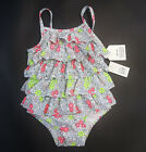 Внешний вид - NWT Baby Gap Girls 0 6 12 18 24 Months Pink Flower Ruffle Swimsuit Bathing Suit