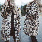 Women's Ladies Winter Faux Fur Leopard Print Warm Jacket Cardigan Coat Outwear