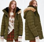 ZARA FAUX FUR LINED HOOD WATER RESISTANT QUILTED PARKA ANORAK PUFFA JACKET COAT