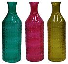 30cm Tall Glass Bottle Vase Flower Vase Tip Jar Water Jug Glass Carafe Crackled