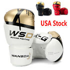 Kids Boxing Gloves MMA Punching Bag LEATHER Matte Black Sparring 6 8 10 12 oz