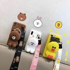 For iPhone 12 11 Pro XS Max 7 8 Cute cony Brown Bear Coin Purse Strap phone Case
