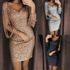 Women Sequined Long Sleeve Tassel Bodycon Party Cocktail Evening Mini Dress 2019