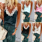 Newly Womens Tank Tops Cami Lace Casual Plain Sleeveless Camisole Vest T-Shirts