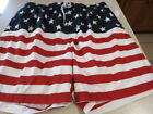 NWT~ Men Patriotic red white and blue Stars and Stripes Bathing shorts FREE SH