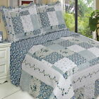 COUNTRY Cottage BLUE Floral PATCHWORK Lightweight Quilt Coverlet Set OVERSIZED image