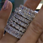 Eternity Jewelry White Gold Filled AAAAA cz Promise Wedding Band Rings for women image