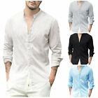 Enjoybuy Mens Casual Linen Cotton Long Sleeve Shirt Loose Fit  Beach Shirts