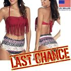 Floral Dot High Waist Bottom Fringed Red Halter Top Bandeau Bikini Swimsuit M-XL $5.25 USD on eBay