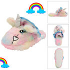 Dunlop Womens Girls Novelty 3D Rainbow Unicorn Mule Slip On Faux Fur Slippers