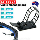 Adjustable Cable Clips Straps Adhesive Cord Management Wire Organizer Black AU