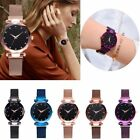 Women Starry Sky Belt Watch Magnet Strap Buckle Stainless Casual Wrist Watch New image