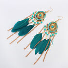 Fashion Statement Feather Dangle Drop Earrings Boho Long Tassel Hook Earrings UK