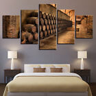 Framed Home Decor Picture Wine Cellar Barrels Canvas Prints Painting Wall Art 5P photo