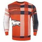 Forever Collectibles NFL Men's Denver Broncos Plaid Crew Neck Sweater $39.99 USD on eBay