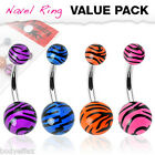 SEXY 4 PCS VALUE 316L SURGICAL STEEL TIGER STRIPE UV NAVEL BELLY RING PIERCING image